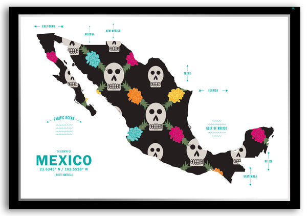 Personalized Mexico Map Print Poster