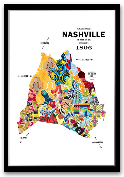 Personalized Nashville City Map Print