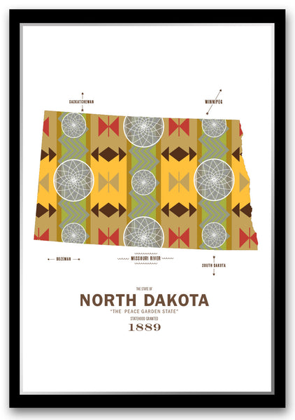 Personalized North Dakota Map Print Poster