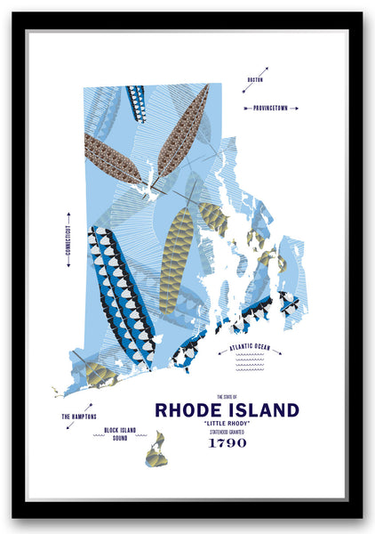Personalized Rhode Island Map Print Poster