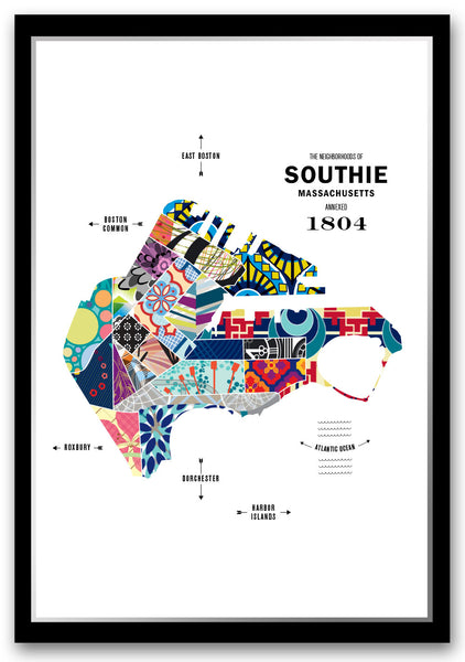 Personalized South Boston City Map Print