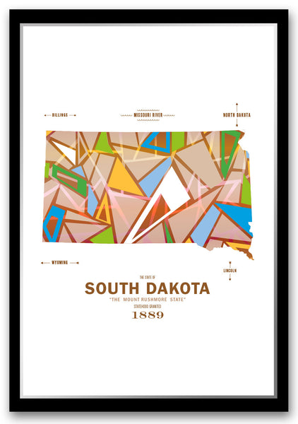 Personalized South Dakota Map Print Poster