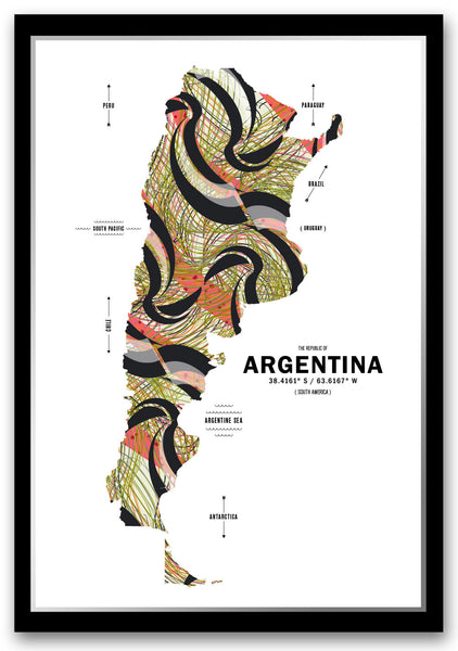 Personalized Argentina Map Print Poster