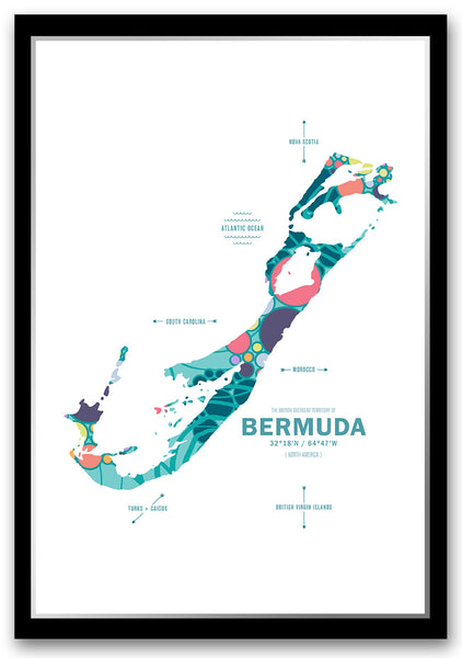 Personalized Bermuda Map Print Poster