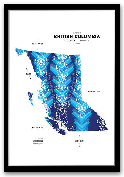 British Columbia Map Print Poster