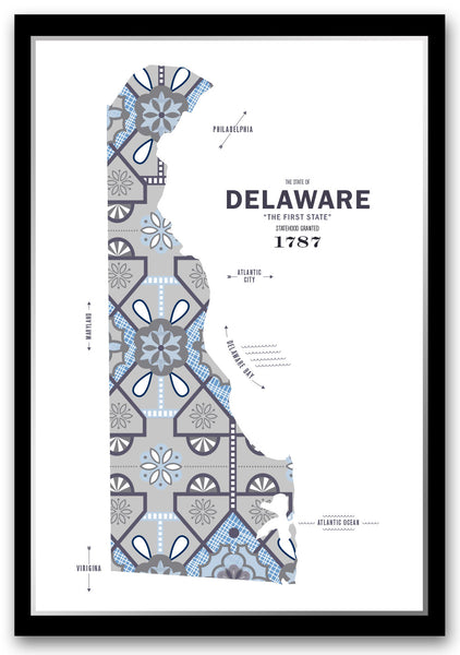 Personalized Delaware Map Print Poster