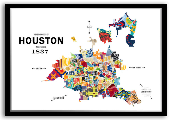 Personalized Houston City Map Print