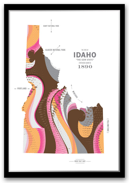 Personalized Idaho Map Print Poster