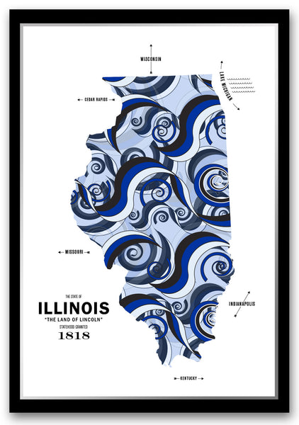 Personalized Illinois Map Print Poster