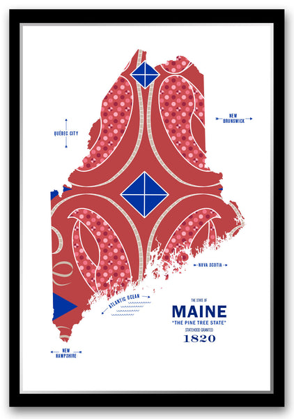 Personalized Maine Map Print Poster