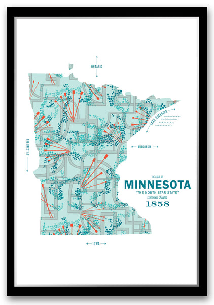 Minnesota Map Print Poster