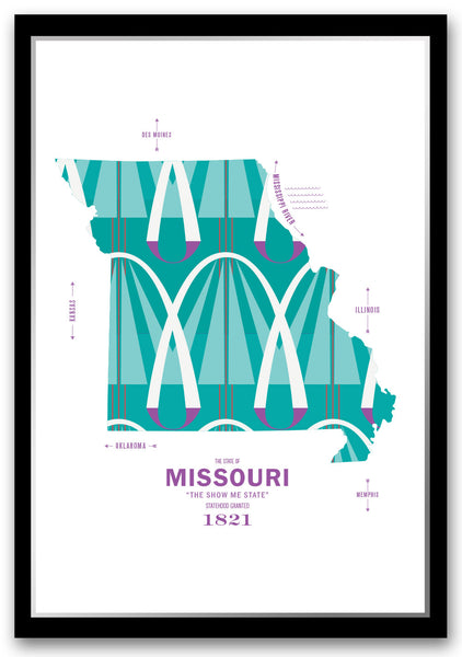 Personalized Missouri Map Print Poster