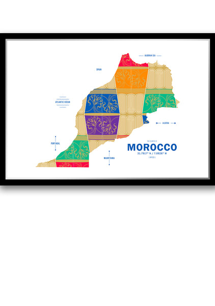 Personalized Morocco Map Print Poster
