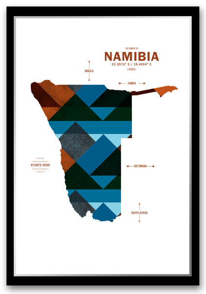 Personalized Namibia Map Print Poster