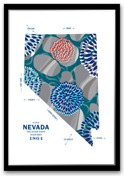 Personalized Nevada Map Print Poster