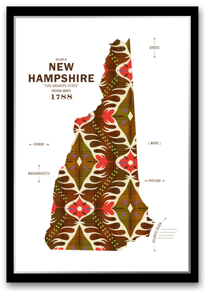 Personalized New Hampshire Map Print Poster