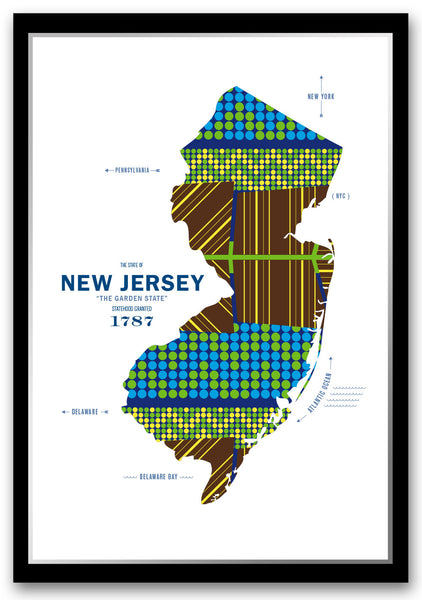 Personalized New Jersey Map Print Poster