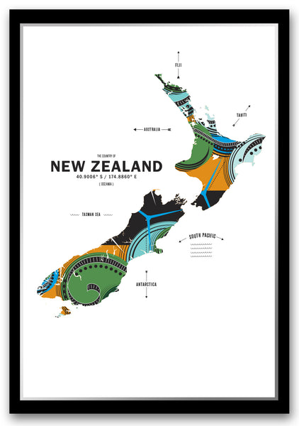 New Zealand Map Print Poster