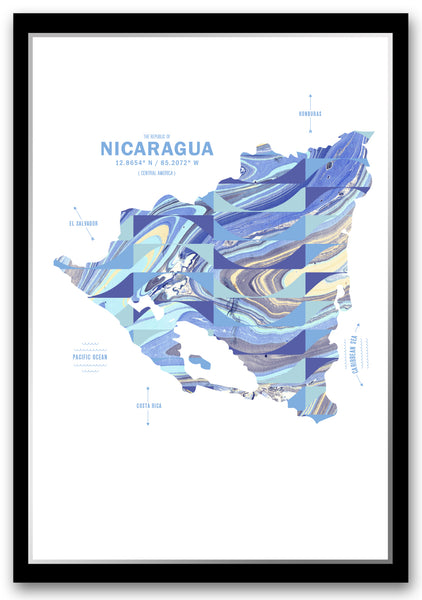Personalized Nicaragua Map Print Poster