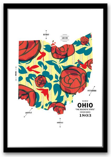 Personalized Ohio Map Print Poster