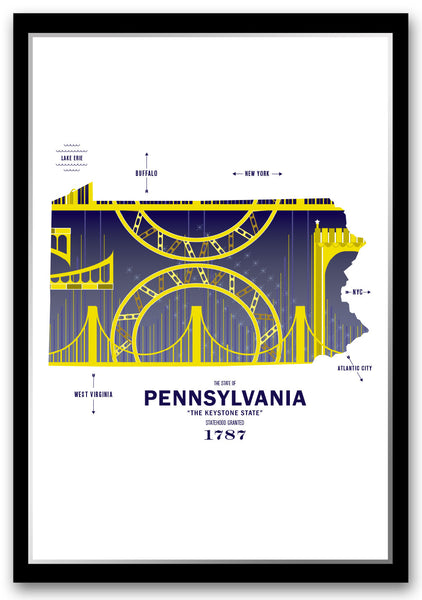 Personalized Pennsylvania Map Print Poster