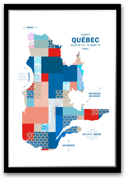 Quebec Map Print Poster
