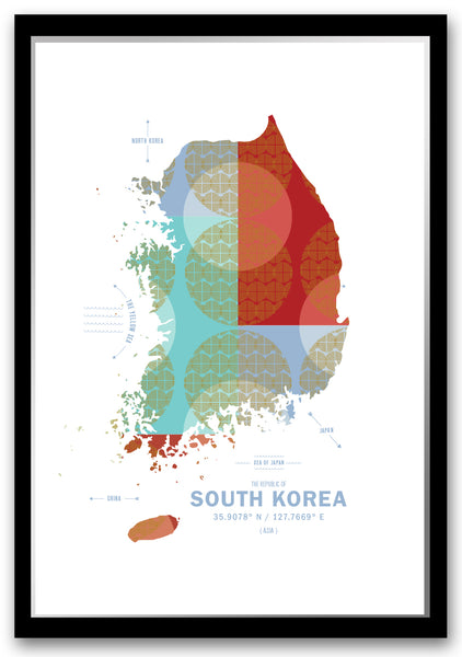 Personalized South Korea Map Print Poster