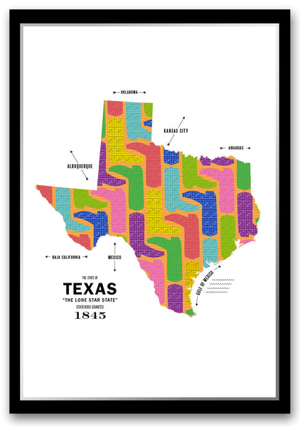 Personalized Texas Map Print Poster