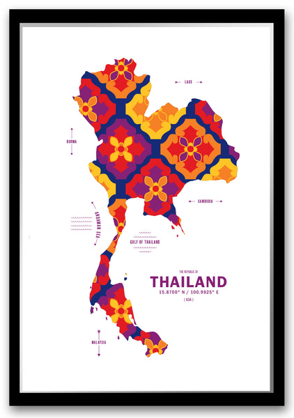 Personalized Thailand Map Print Poster