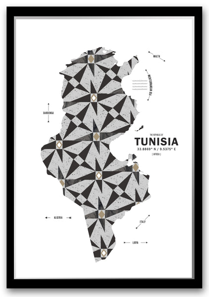 Personalized Tunisia Map Print Poster