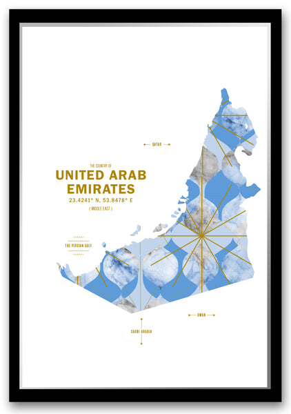 United Arab Emirates Map Print Poster