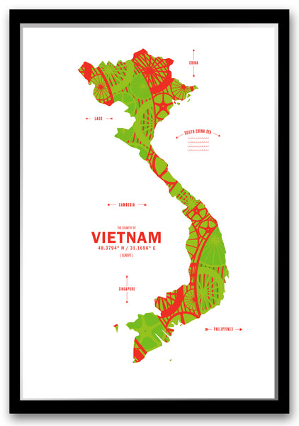 Personalized Vietnam Map Print Poster
