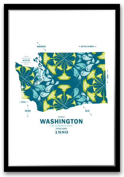 Personalized Washington Map Print Poster
