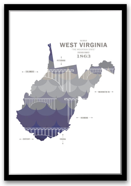 West Virginia Map Print Poster
