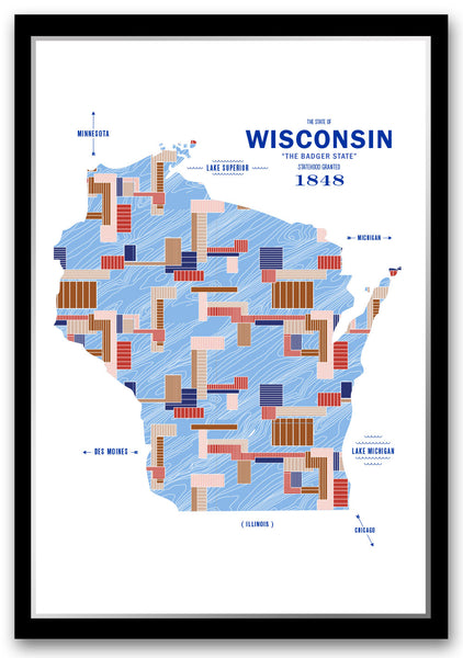 Personalized Wisconsin Map Print Poster