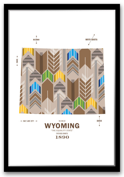 Personalized Wyoming Map Print Poster