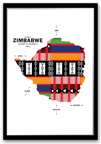 Personalized Zimbabwe Map Print Poster