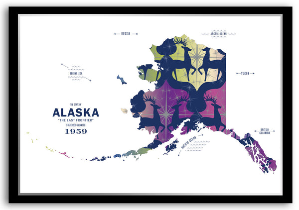 Personalized Alaska Map Print Poster