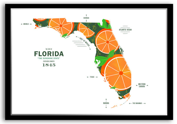 Personalized Florida Map Print Poster