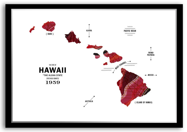 Personalized Hawaii Map Print Poster