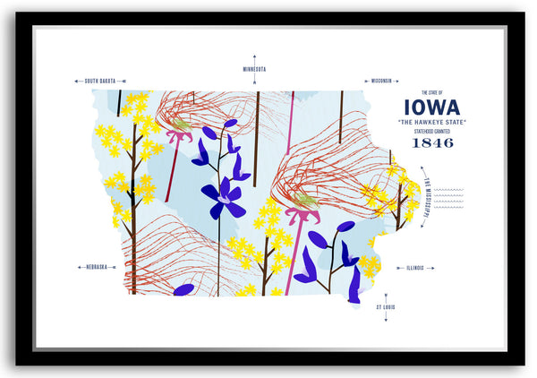 Personalized Iowa Map Print Poster