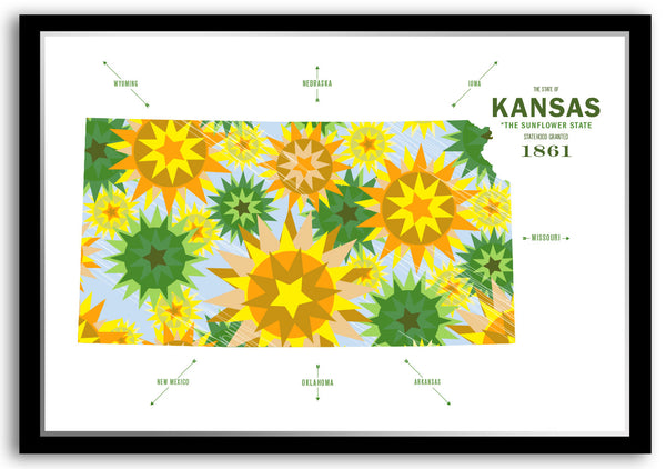 Personalized Kansas Map Print Poster