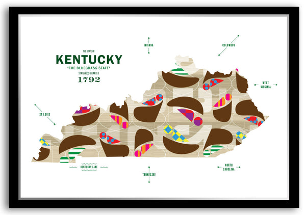 Personalized Kentucky Map Print Poster
