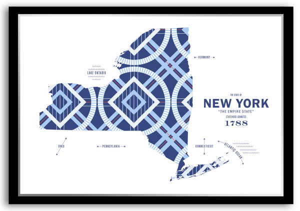Personalized New York Map Print Poster