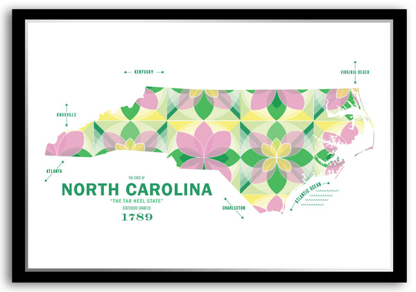 Personalized North Carolina Map Print Poster