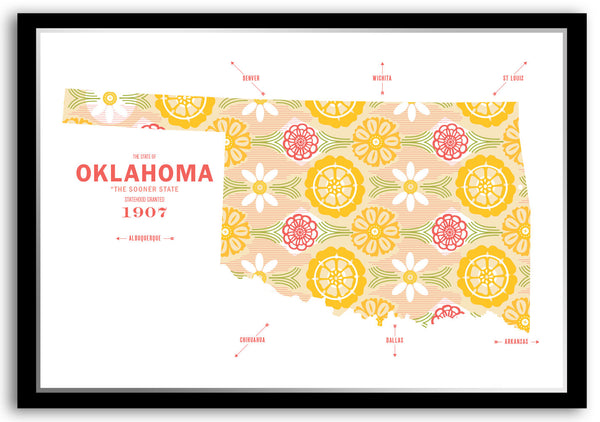 Personalized Oklahoma Map Print Poster