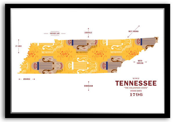 Personalized Tennessee Map Print Poster