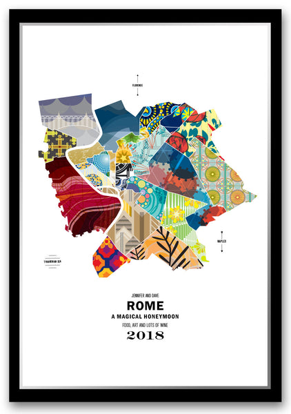 Personalized Rome City Map Print