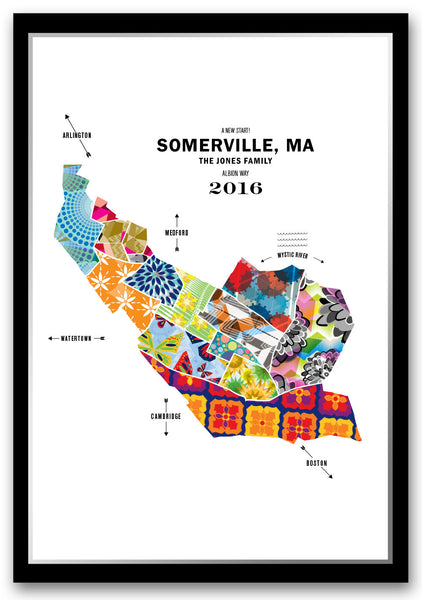 Personalized Somerville City Map Print