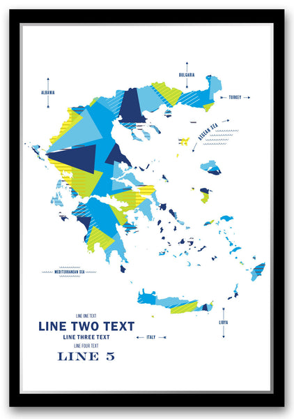 Personalized Greece Map Print Poster